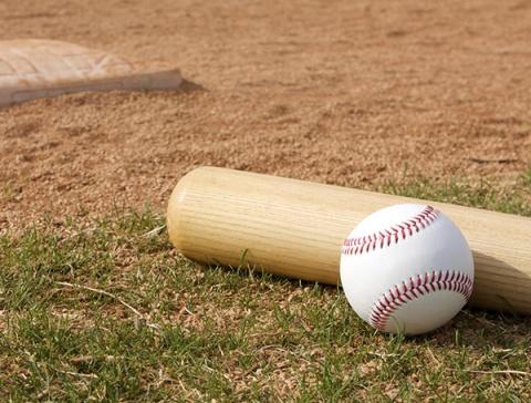 honkbalknuppel, bal en mat
